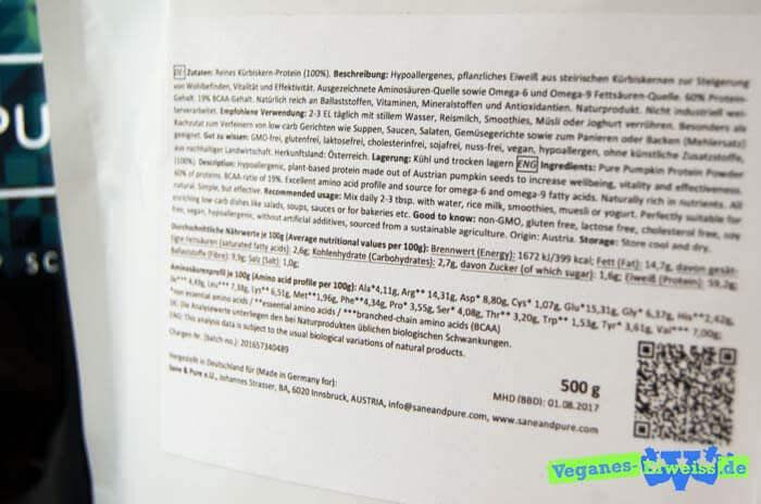 Zutatenliste und Verwendungshinweise von Kürbiskernprotein