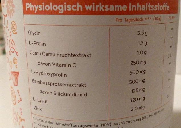 Zusammensetzung vegan Collagen